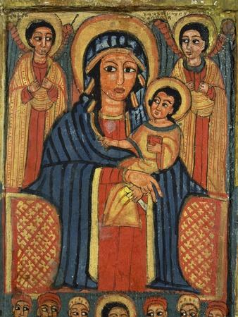 Enthroned Virgin with Child and Angels, Detail from Triptych. Ethiopia 18th-19th Century