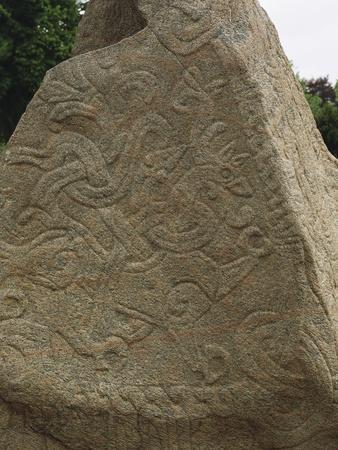 Denmark, Jelling Mounds, Runic Stones, Detail of Carvings on Runestone