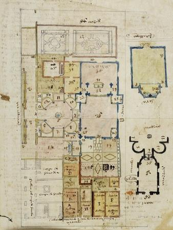 Floor Plan of Baptistery and Area around Cathedral in Novara by Panigone