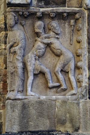Detail of Romanesque Sculptures on Facade of Parish Church of Fornovo Di Taro
