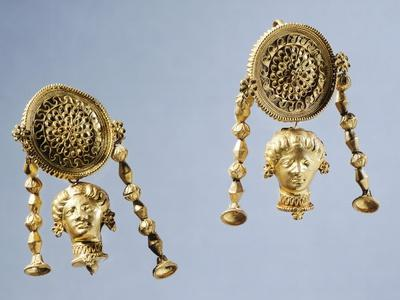 Gold Disc Earrings, Italy