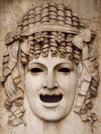 Italy, Como, Villa Il Trempo or Villa Giuditta Pasta in Blevio, Mask in Marble, Allegory of Comedy