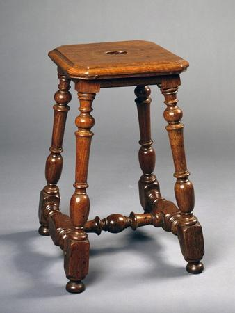 Louis XIII Style Oak Stool with H Shaped Stretchers, France
