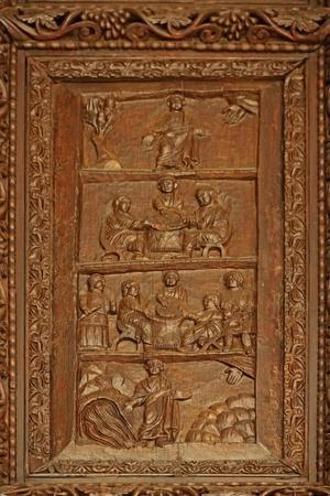 Panel from 5C Door: 4 Scenes with Moses: in the Desert: the Quail: the Manna: the Rock at Horeb