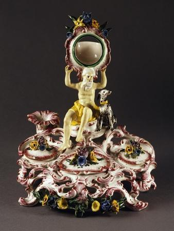 Clock Stand with Fountain, Majolica Enamel Germany
