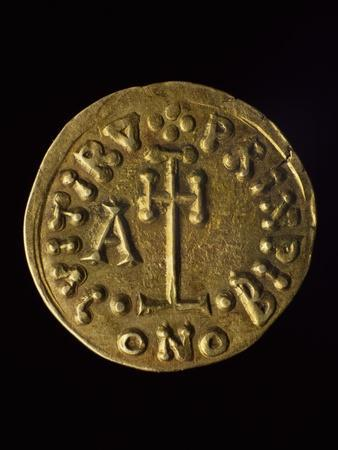 Solidus of Prince Arechi, Verso, Lombard Coins, 8th Century