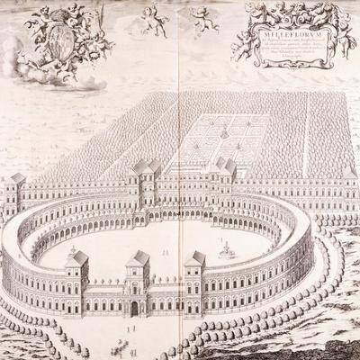 Castle Mirafiori in Turin, 1682, from Vinea Transpadana Theatrum Sabaudiae Et Pedemontii