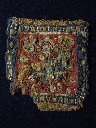 Figure of Knight, Painting on Fabric, from Antinoe, Egypt, Coptic Civilization, 4th-6th Century