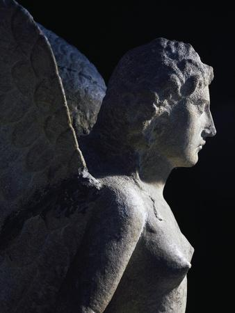 Detail of Statue Depicting Siren from Necropolis at Altino Near Via Annia, Veneto, Italy