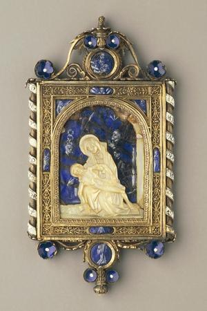 Chiselled, Gilded Silver Pendant Plaque Set with Pearls and Mother-Of-Pearl