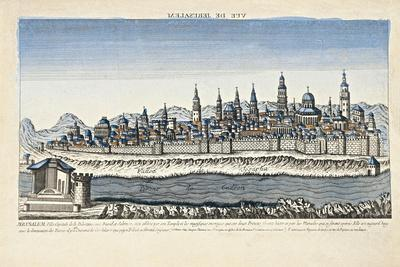 Israel, Palestine, Optical View of Jerusalem with Kidron's Tower