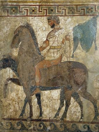 Knight, Funeral Painting from Paestum, Campania, Italy, Samnite Culture BC