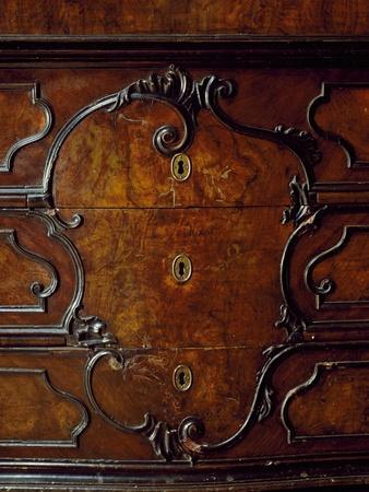Lombard Trumeau Cabinet with Walnut Root Veneer Finish, Restored Drop Leaf, Italy, Detail