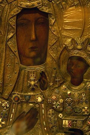 Black Madonna, Icon on Wooden Board, Czestochowa, Poland, Detail