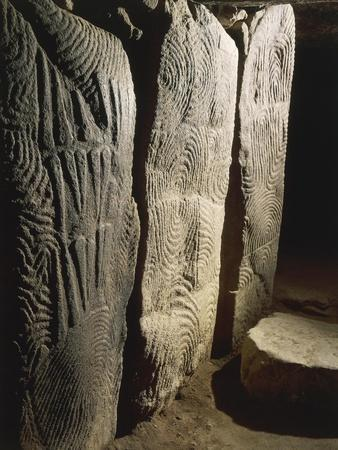 France, Brittany, Gavrinis Island, Megalithic Monument, Interior, Spirals Engraved on Granite Slabs