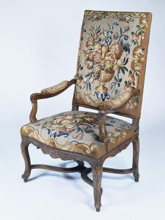 Walnut Armchair Upholstered in Aubusson Tapestry, France
