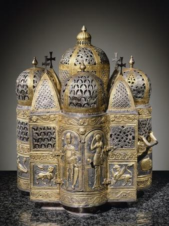 Incense Burners and Reliquary in Shape of Domed Building, Filigreed