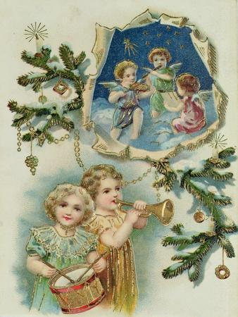 Playing Musical Instruments, Victorian Card