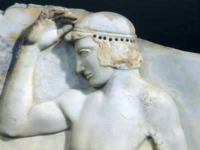 Ephebe Enclosing Crown, Attic Relief from Cape Sounion, Greece, 5th Century BC