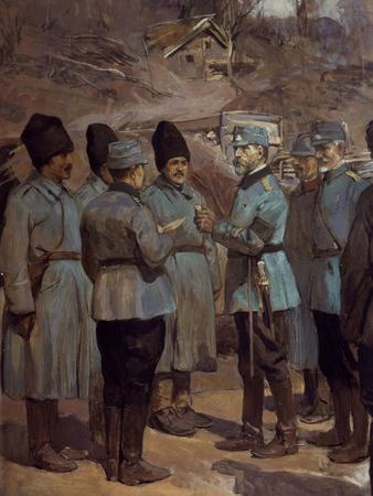 King Ferdinand I and General Avaresco Awarding Medals, World War I, Romania
