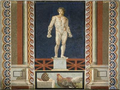Mosaic Depicting a Boxer in the Gym. Roman Civilization