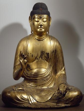 Amida-Nyorai or Buddha Amitabha, Seated While Preaching, Lacquered and Gilded Wooden Statue, Japan