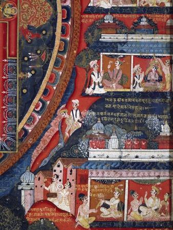 Ashtamivrata Stories, Mythical Tales of King Krakika, Detail from Mandala of Amoghapasa, 1860