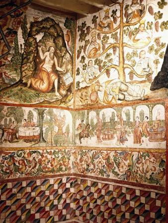 Religious Scenes and Daily Life Fresco from the Chapel of the Convent of Santa Catalina