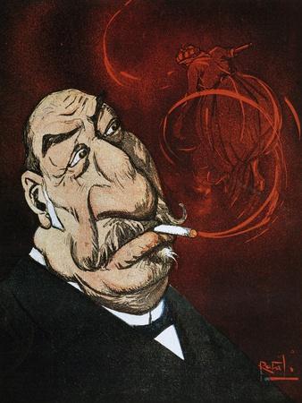 The Honourable Giolitti's Smoke, Satirical Cartoon from L'Asino Magazine, July 26, 1908, Italy