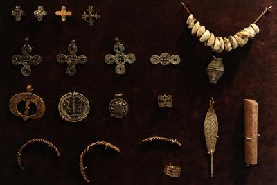 Crosses of Bronze and Tin and Bronze Pendants