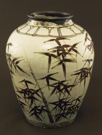 Vase Decorated with Bamboo, White Porcelain, Korea