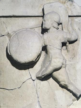 Metope with Relief Depicting Warrior, 490 BC, from Paestum, 5th Century BC