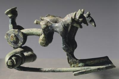 Bronze Arch Fibula with Warrior and Chariot Drawn by Three Ponies