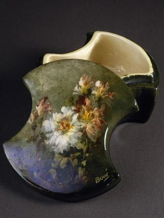 Ceramic Box with Impressionism Style Floral Decoration, before 1914