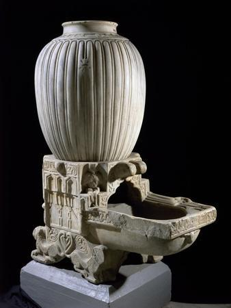 Jar and Jar Holder, White Marble. Fatimid Period, 11th-12th Century