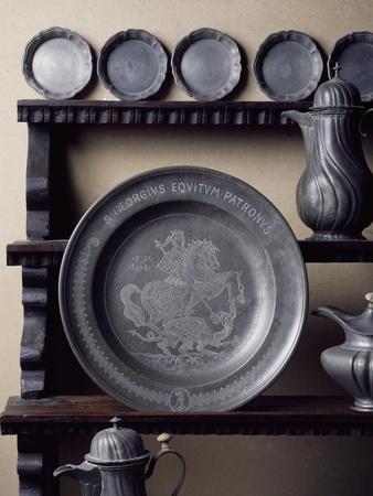 Italy, Lonato, Ugo Da Como Foundation, Casa Del Podesta, Pewter Room, Detail of Plate on Display