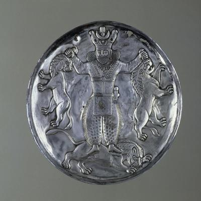 Silver Cup Depicting King, Probably Firuz I Killing Two Lions