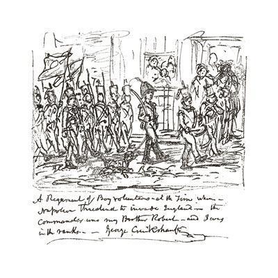 Sketch in Pen and Ink Depicting Robert Heading a Boy Regiment