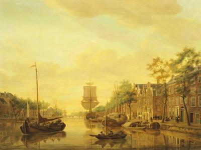 Leuvehaven the Old Port in Rotterdam by Gerrit Groenewegen, 1782, Netherlands 18th Century