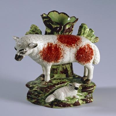 Match Holder for Fireplace with Sheep, Ca 1820