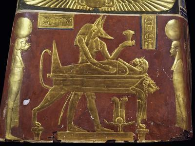 Anubis in Throes of Performing Ritual of Embalming, Decorative Detail of Male Funeral Mask