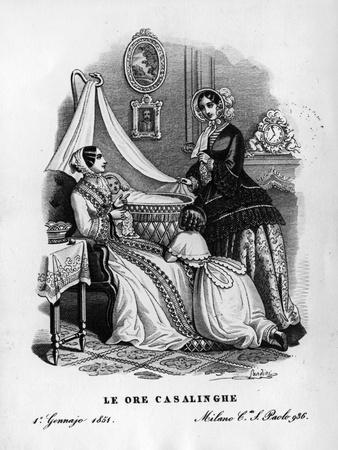 """Daily Life Scene from """"Le Ore Casalinghe"""", 1851"""