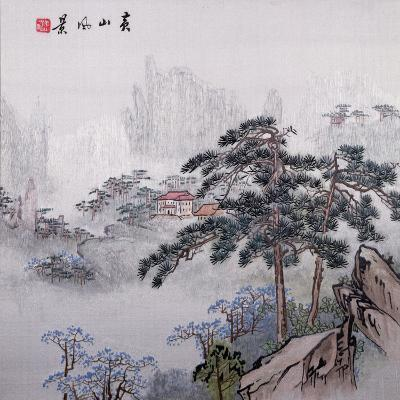 Embroidered and Painted Chinese Landscape 20th Century