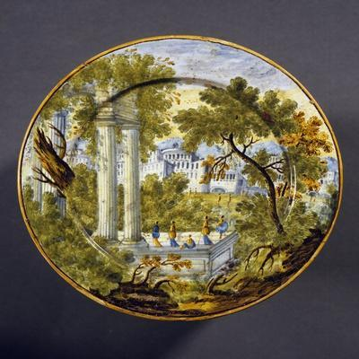 Saucer Decorated with Views of Ruins, Maiolica, Castelli Manufacture, Abruzzo, Italy