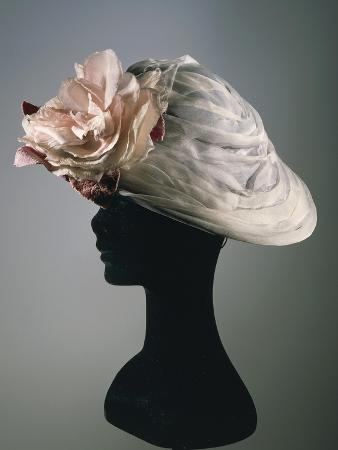 Women's Cloche Synthetic Satin Hat in Ice Grey Color, Ornamented with Organza Flower