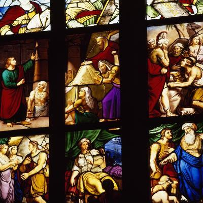 Italy, Milan Cathedral, Detail of Stained-Glass Window Depicting Stories of the Old Testament