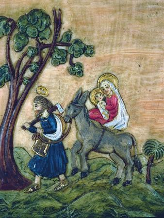 Flight into Egypt, Wax Pattern Nativity, Austrian, Mid 18th Century