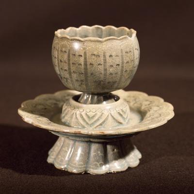 Egg Cup, Celadon Ceramics, Korea. Korean Civilization, Goryeo Dynasty, 10th-14th Century