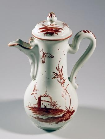 Coffee Pot Decorated with Landscape and Insects, Majolica