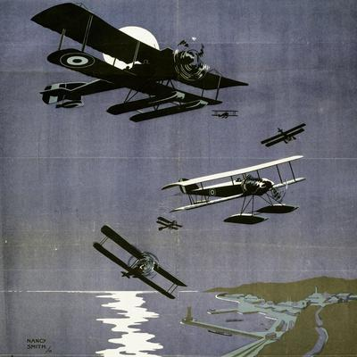 L'Aviation Navale Britannique, English Poster by Nancy Smith, 1918, World War I, Great Britain